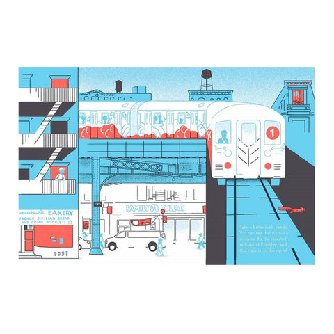 One of the New York subway illustrations of the book. All blue with white and coral detailing.