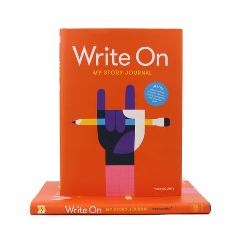 Cover featuring an illustration of a hand in the rock and roll position holding a pencil on an orange background.