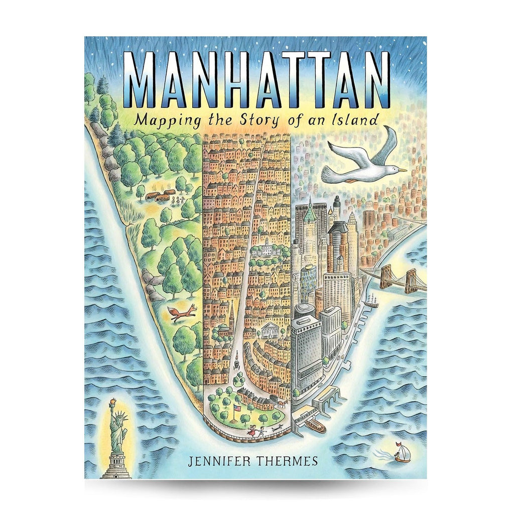Cover features a cartoon illustration of the south part of Manhattan as an areal shot. Title is on the top.
