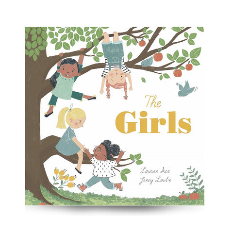 Cover features an illustration of four different girls climbing, seating or playing on a tree. Illustration is on a white background. Title is on the right center area.