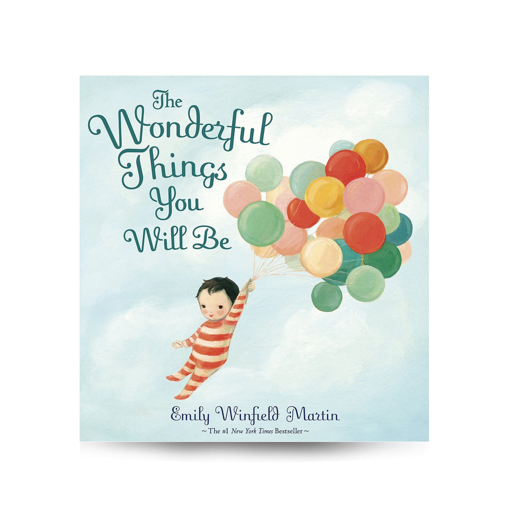 Cover features a kid wearing a striped onesie holding on to balloons, flying among the clouds