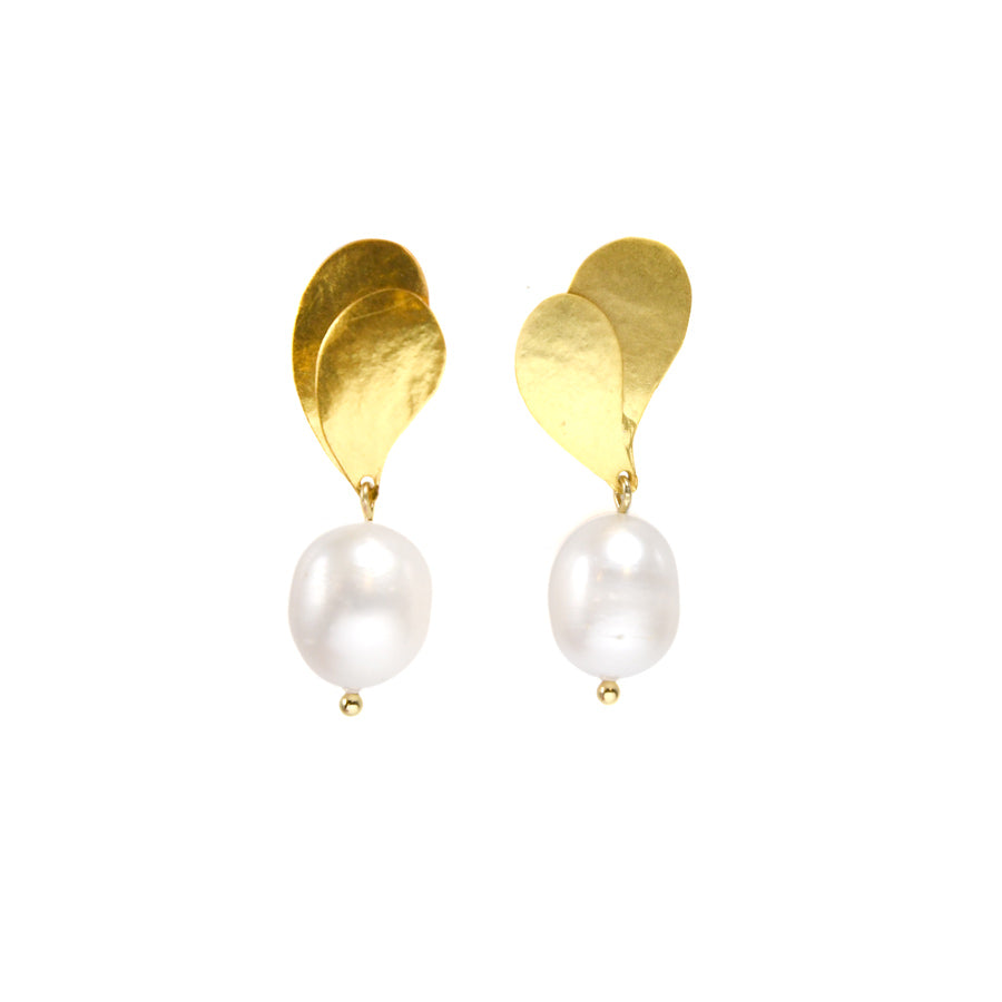Double Leaf Pearl Earrings