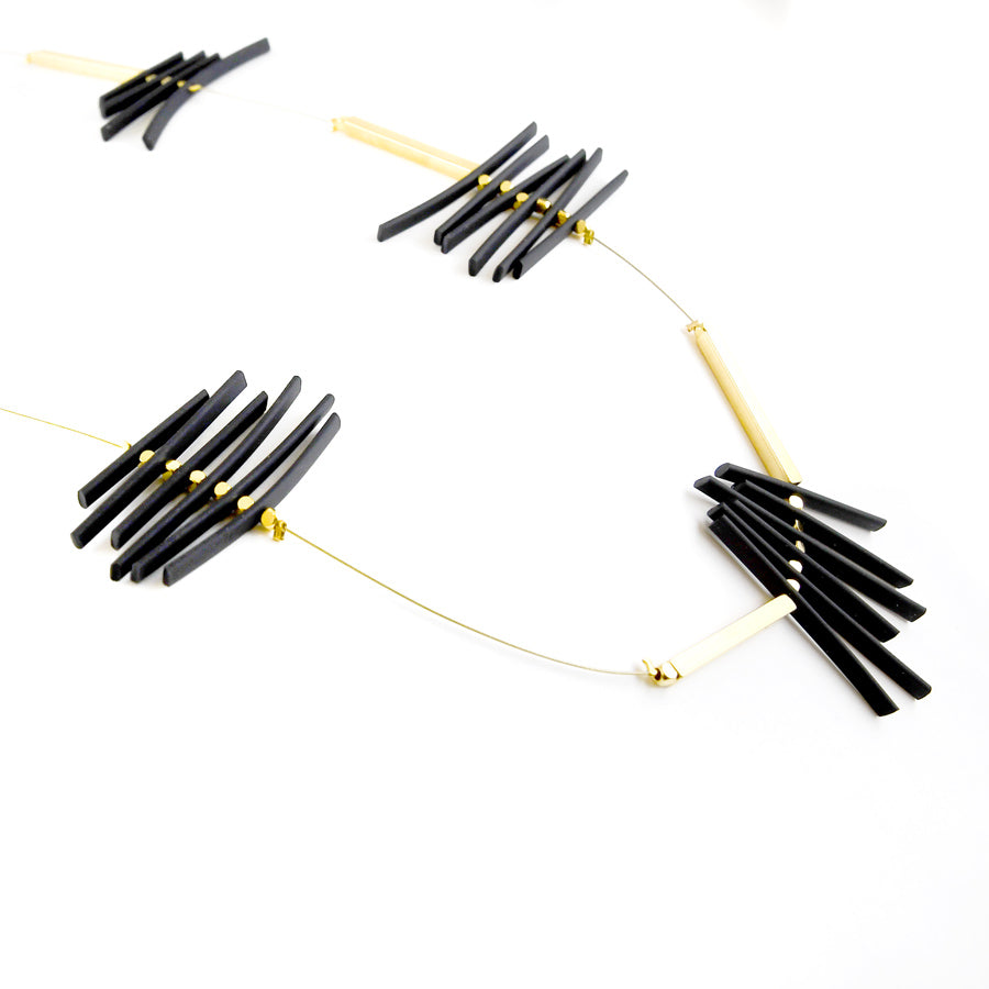 Long Black and Gold Necklace
