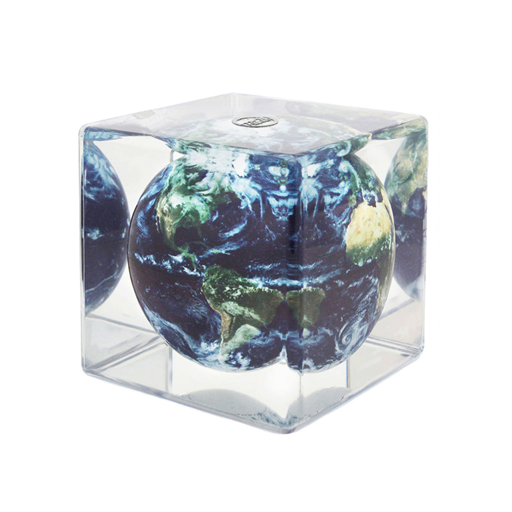 Mova Rotating Satellite with Clouds Cube Globe - The New York Public Library Shop