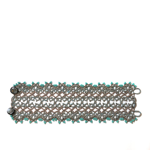 Rose gold and turquoise lace with pearl gray and turquoise beads.