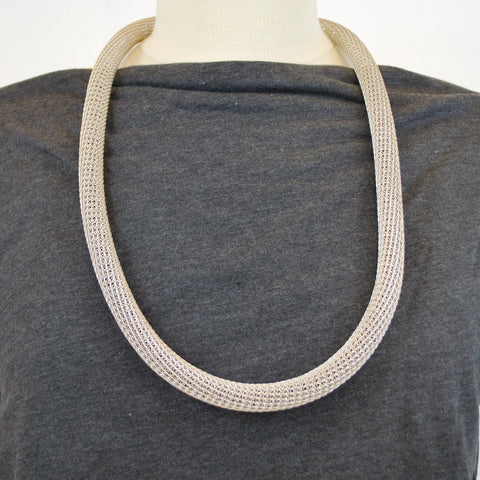 Silver Wire Knit Tube Necklace