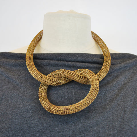 Brass Wire Knit Tube Necklace - The New York Public Library Shop