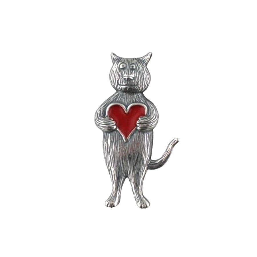 Cat with Heart: Edward Gorey Brooch