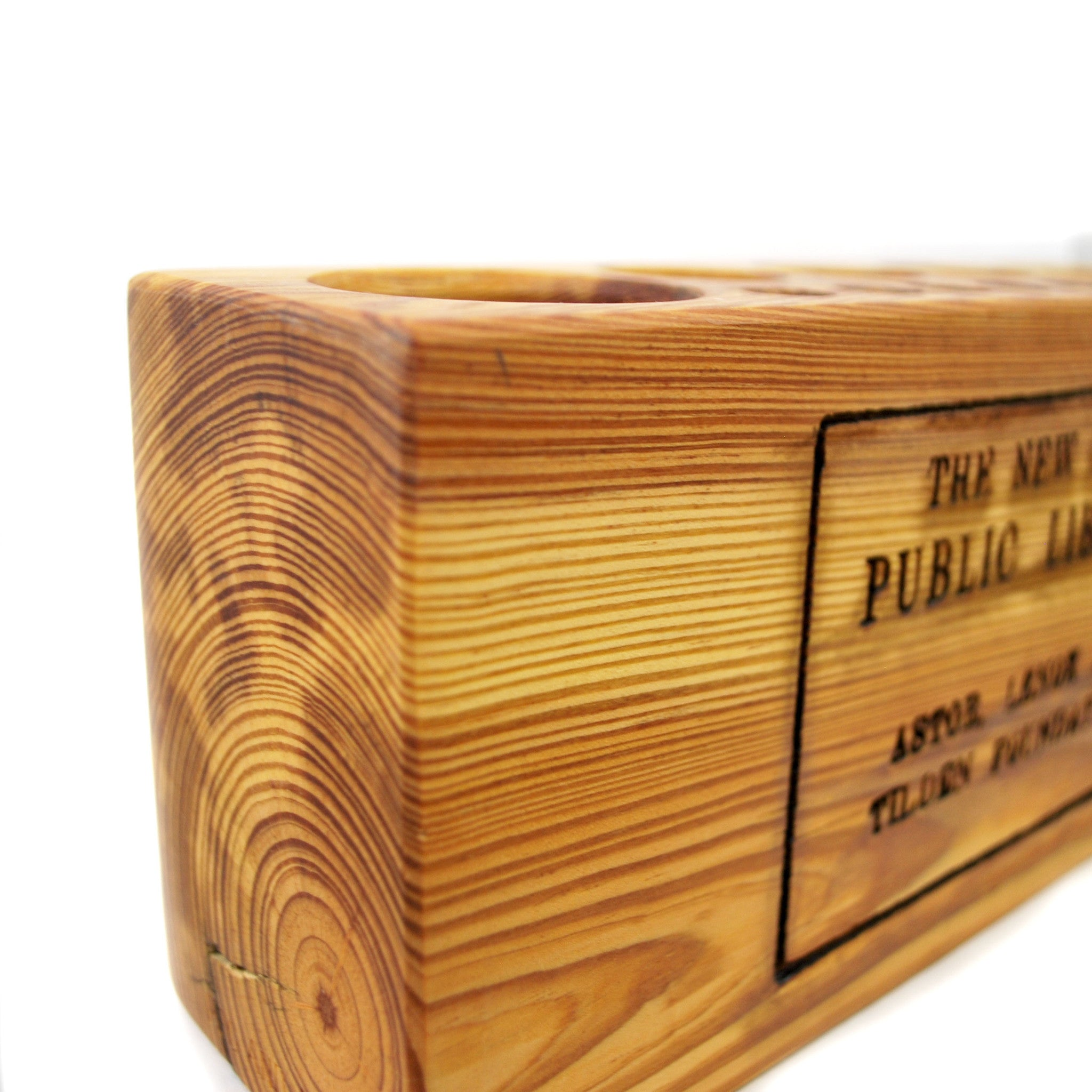 Large NYPL Library Stamp Desk Caddy