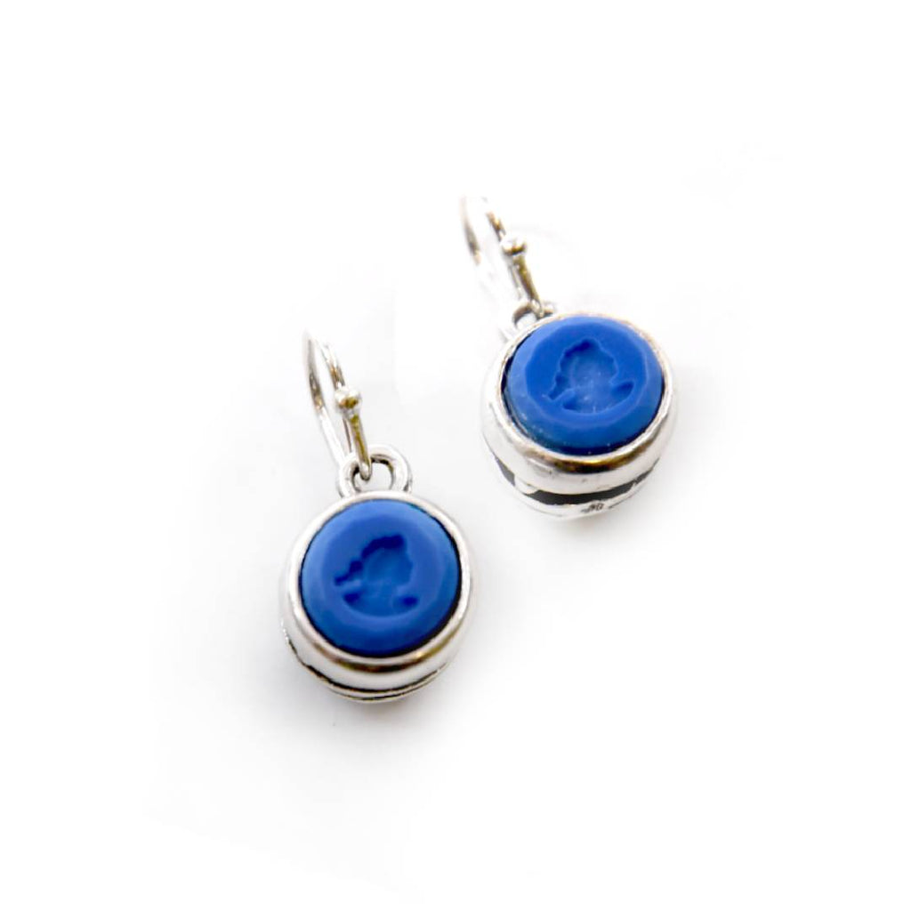 Round French Blue Intaglio Earrings