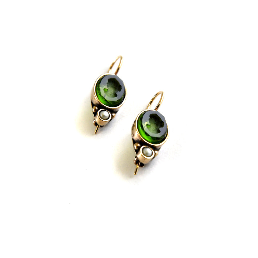 Oval Olive Intaglio Earrings