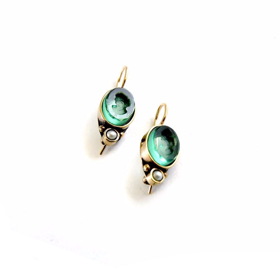 Oval Sea Intaglio Earrings