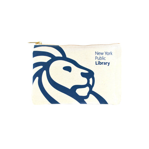 "Rotal blue library lion outline on cream colored background with text ""New York Public Library"" in the right corner."