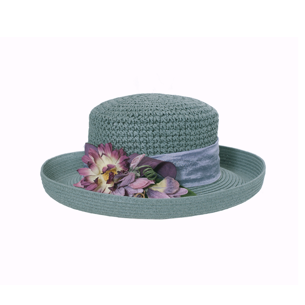 Daisy Crochet Roll-Sage Hat