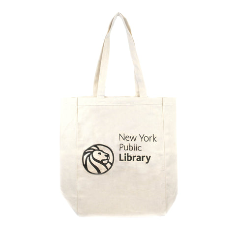 "Reverse side with library logo and text ""New York Public Library"" on light beige background"