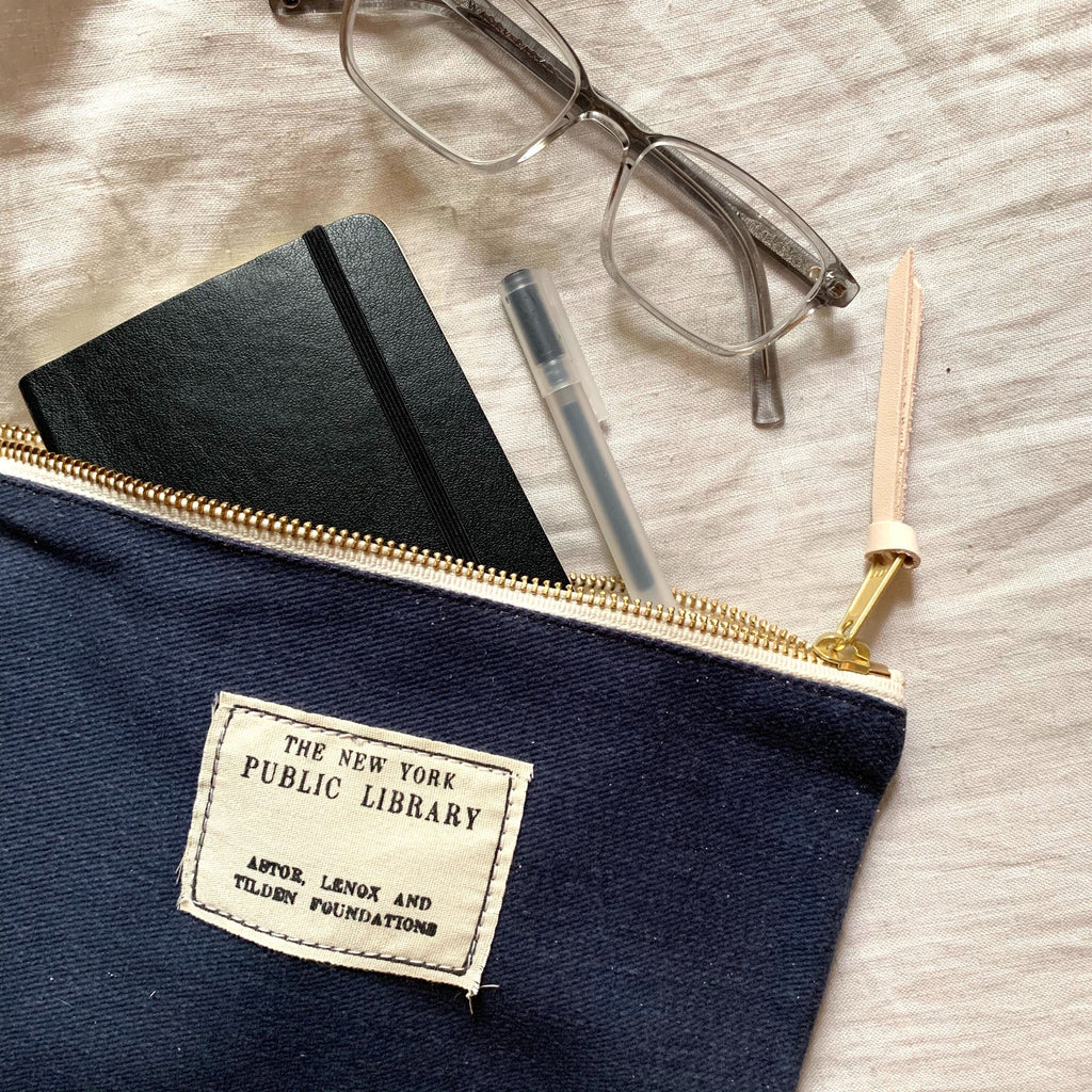 Navy Vintage NYPL Stamp Pouch