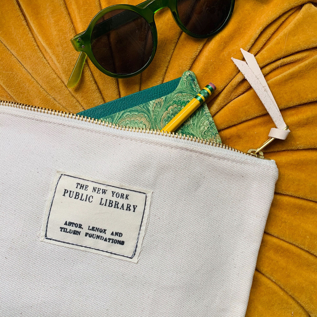 Natural Vintage NYPL Stamp Pouch
