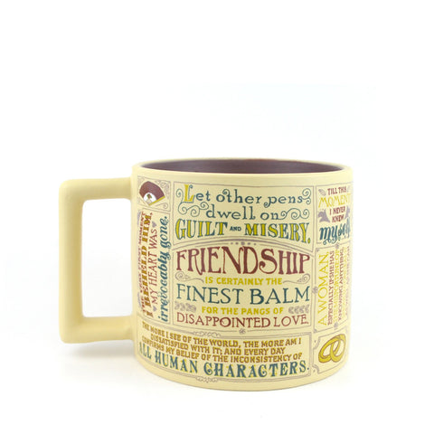 Mug with Jane Austen quotes on cream background