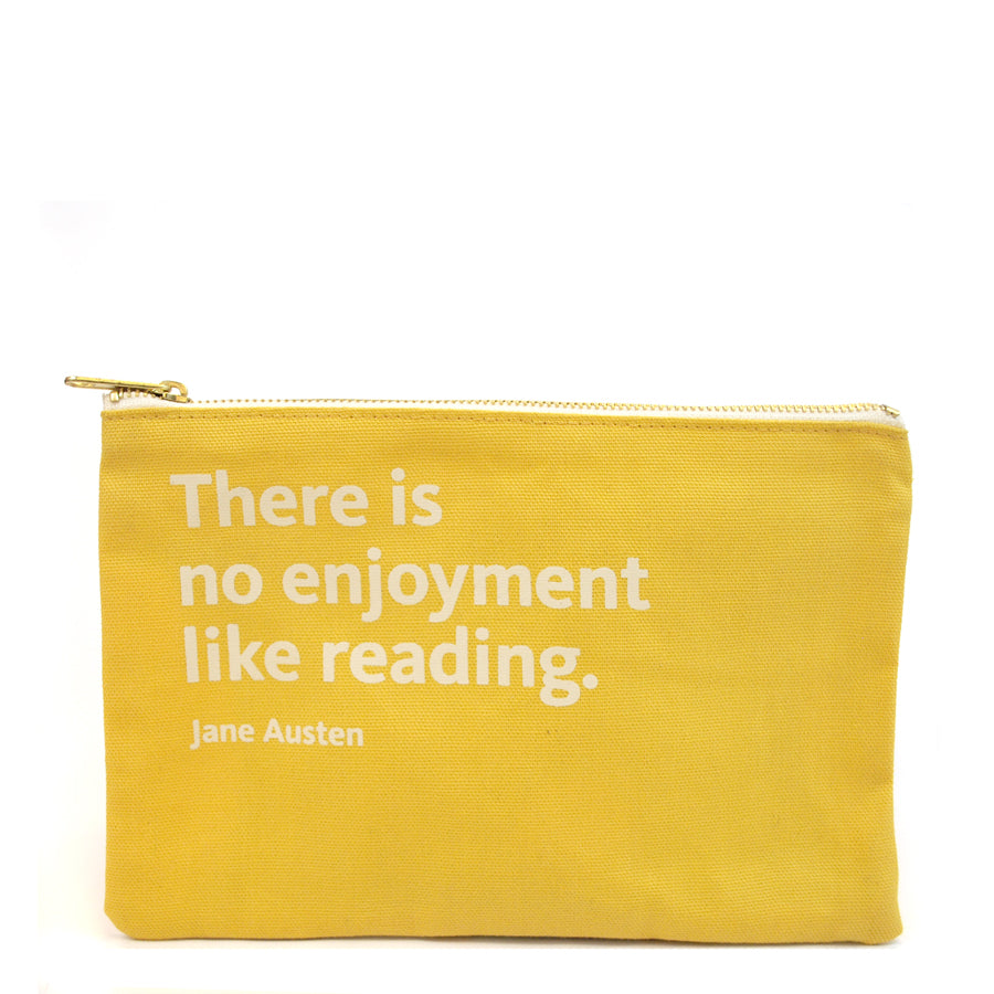 Quote on mustard background pouch.