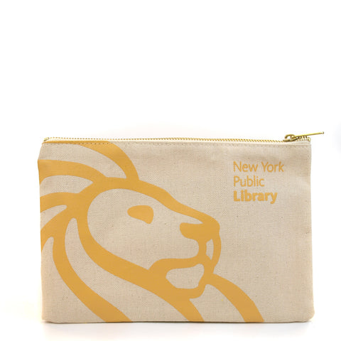 "Silhouette of lion in mustard on light cream background. Text at the right top corner reads ""The New York Public Library"""