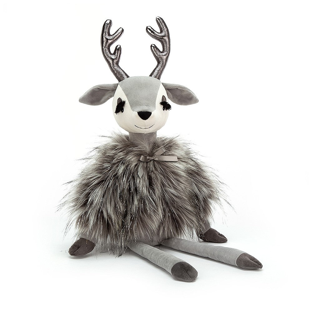 Plush Reindeer with long eyelashes, shiny antlers and a little bow on her coat.