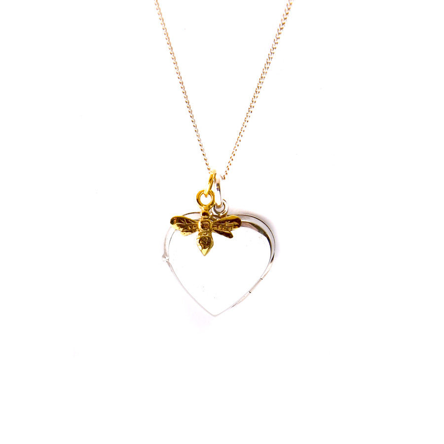 Heart With Bee Charm Locket Necklace