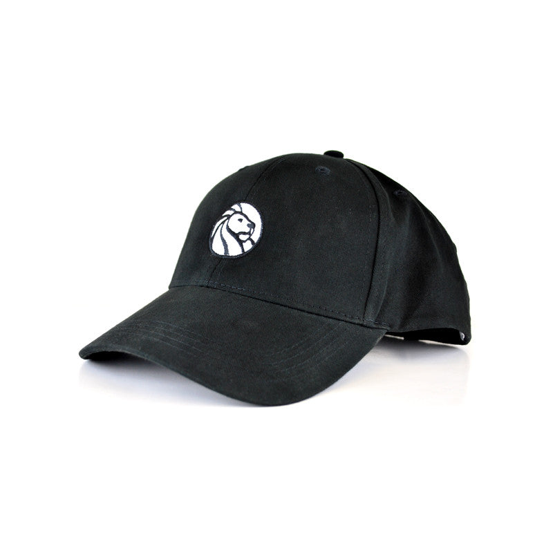 All black baseball cap with the library logo in white on the front