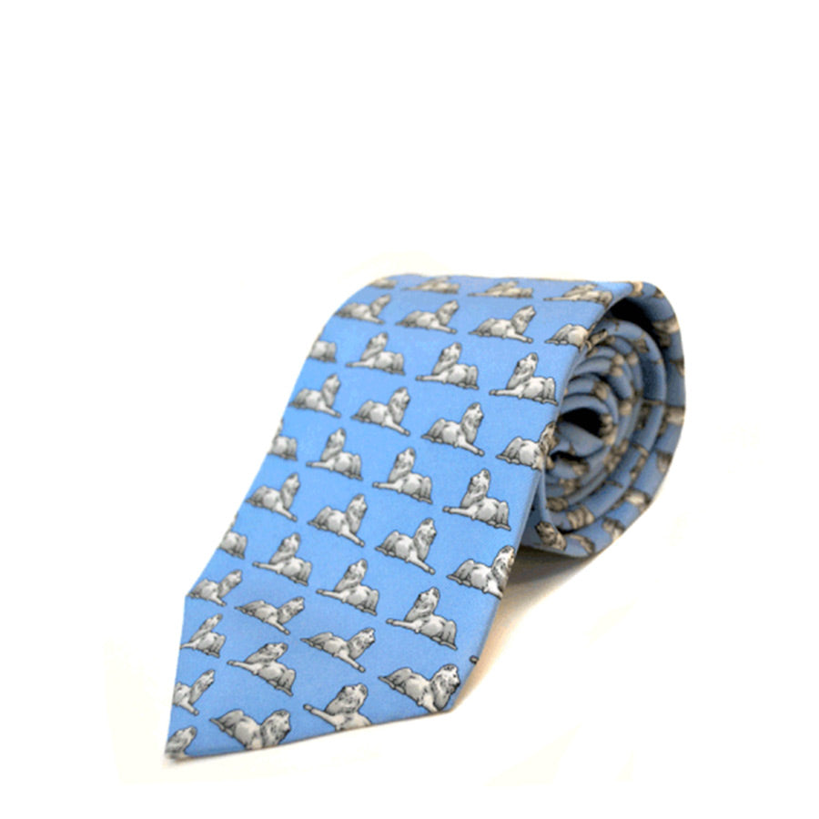 Library lions on light blue background tie.