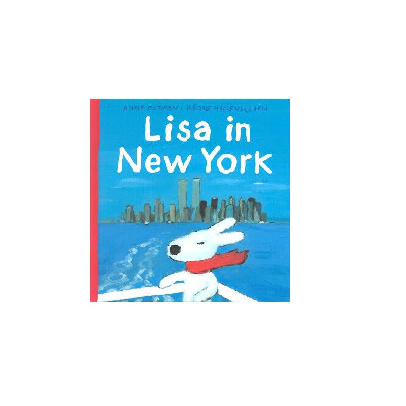 Cover features an illustration of a dog with a red scarf on a boat with New York City in the background. Cover is mostly blue.