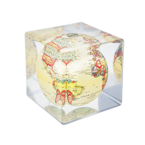 Mova Rotating Antique Beige Cube Globe