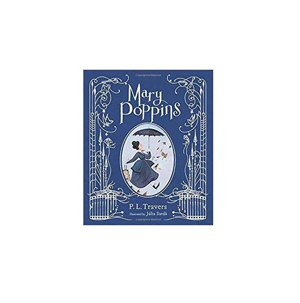 Cover features an illustration of Mary Poppins holding her opened umbrella in the center on a navy blue background. Text and detailing around the illustration is silver colored.