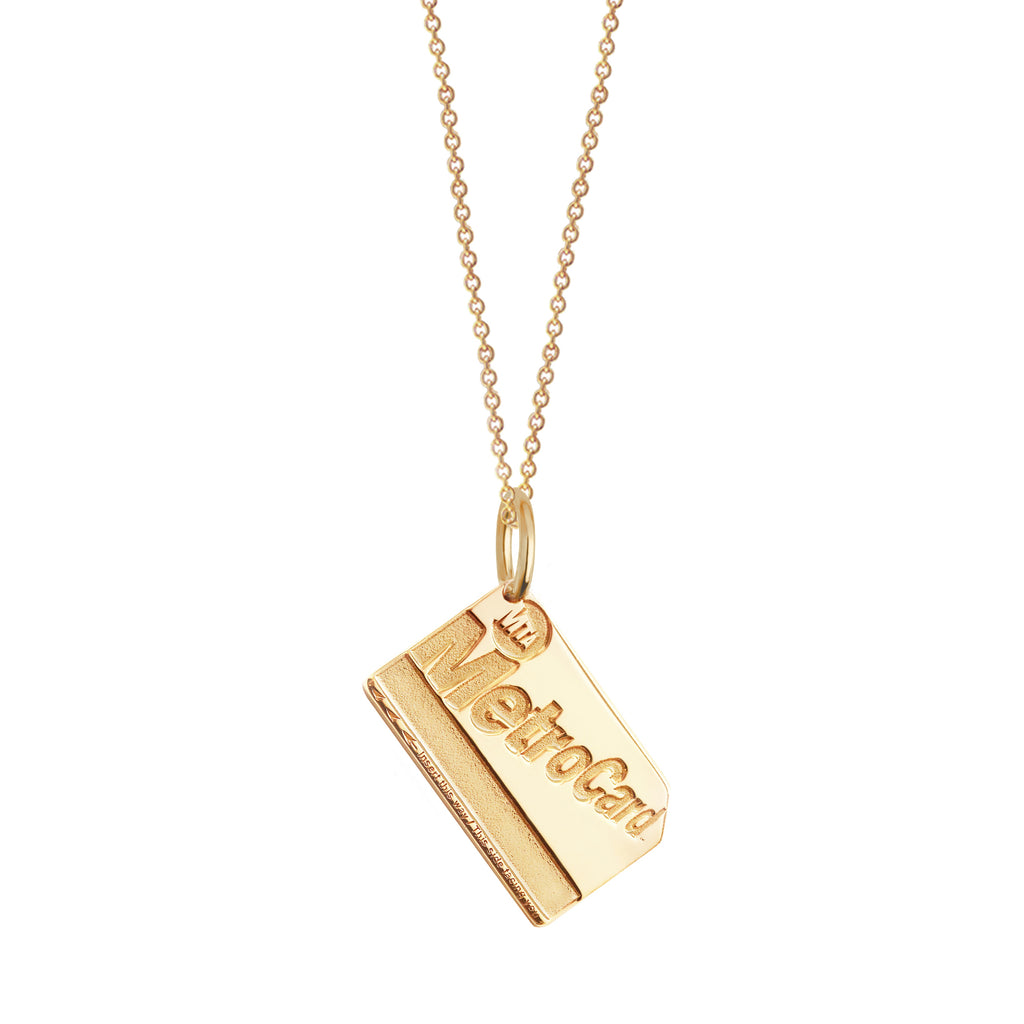 Gold Vermeil mini MetroCard Charm Necklace