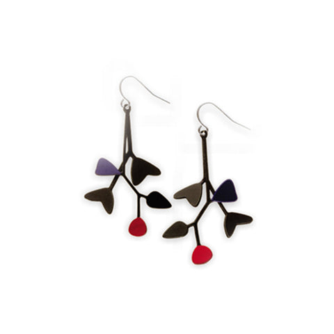 Earrings have blue and red touches on all black setting.