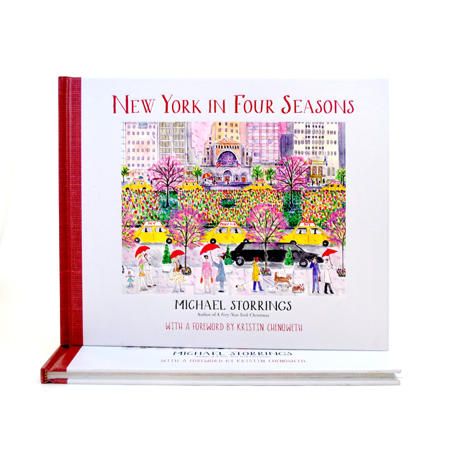 "White book with red binding. Cover contains a colorful illustration of the busy streets of NYC in spring- people walking, yellow taxicabs, flowers. Text at the top reads ""New York in Four Seasons"", text at the bottom includes author's name and publisher."