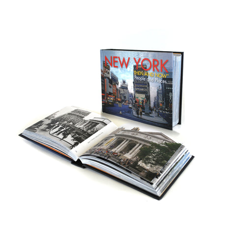 Cover features a photograph of a street in NYC many years ago. Text is in red and yellow.