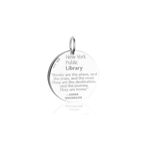 "on the reverse, text reads ""The New York Public Library"" and includes the quote from Anna Quindlen."