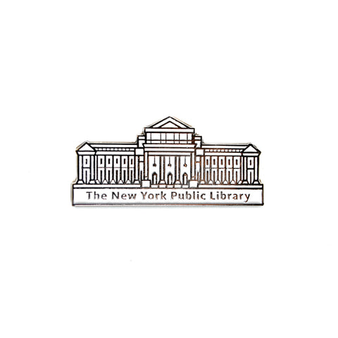 "Facade of the building in white with text ""The New York Public Library"" at the bottom."