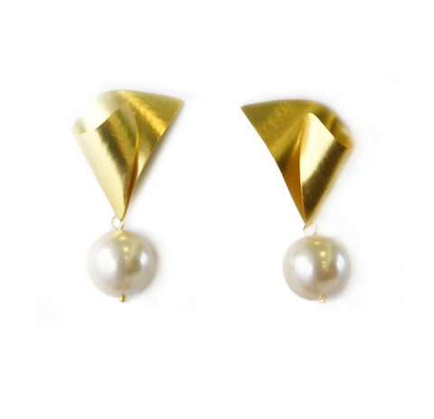 Large Folded Pearl Earrings