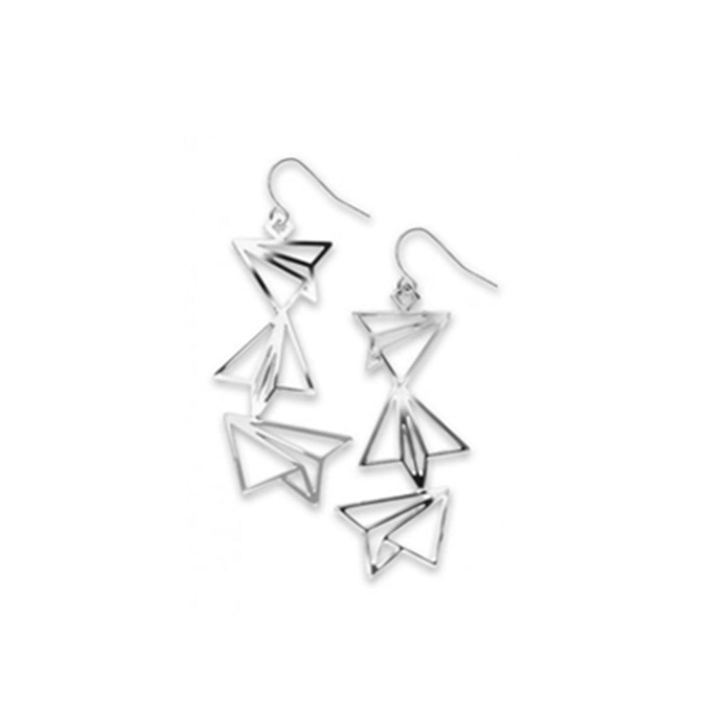 Earrings have silhouettes of paper planes in silver finish. There are three different ones hanging.
