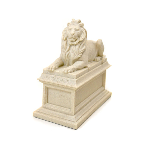 "Single Library lion Sculpture with ""Patience"" carved on the base. Hand-cast in a durable blend of marble powder and museum-quality resin."