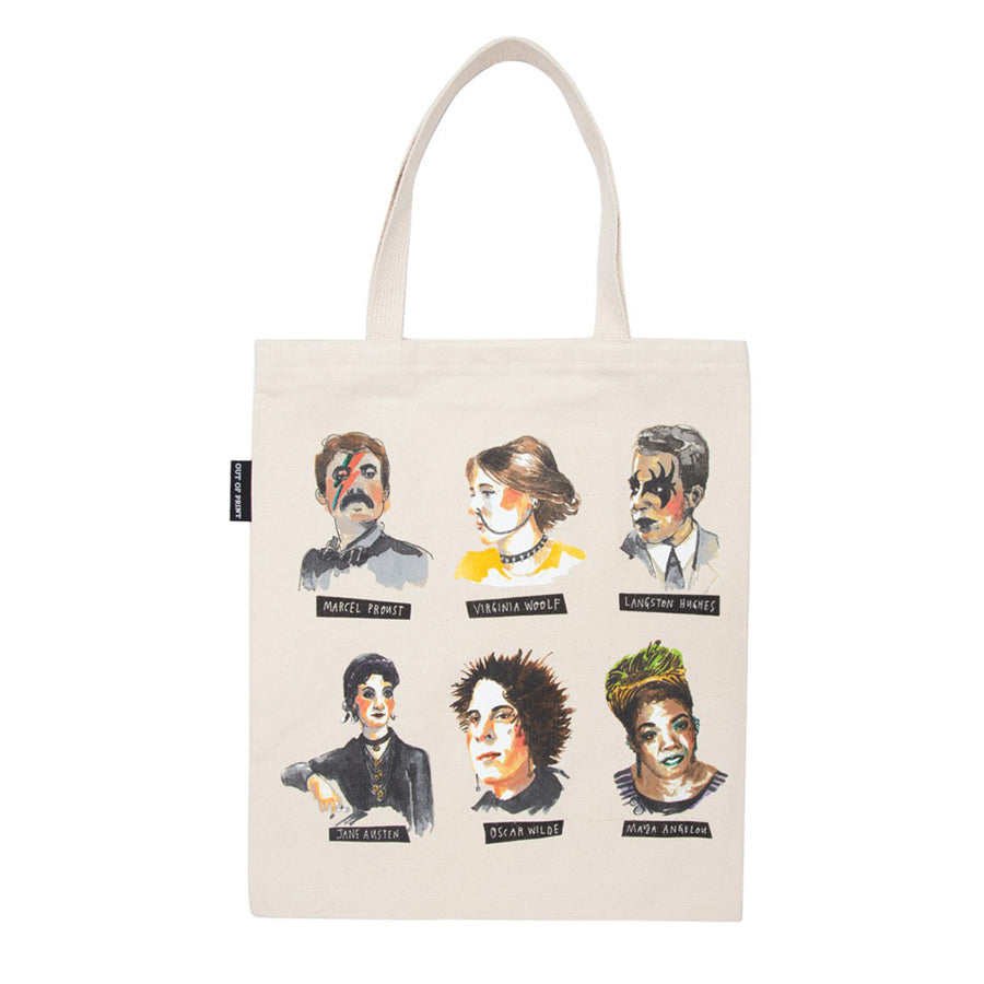 All illustrations are in the front on a off-white background tote.