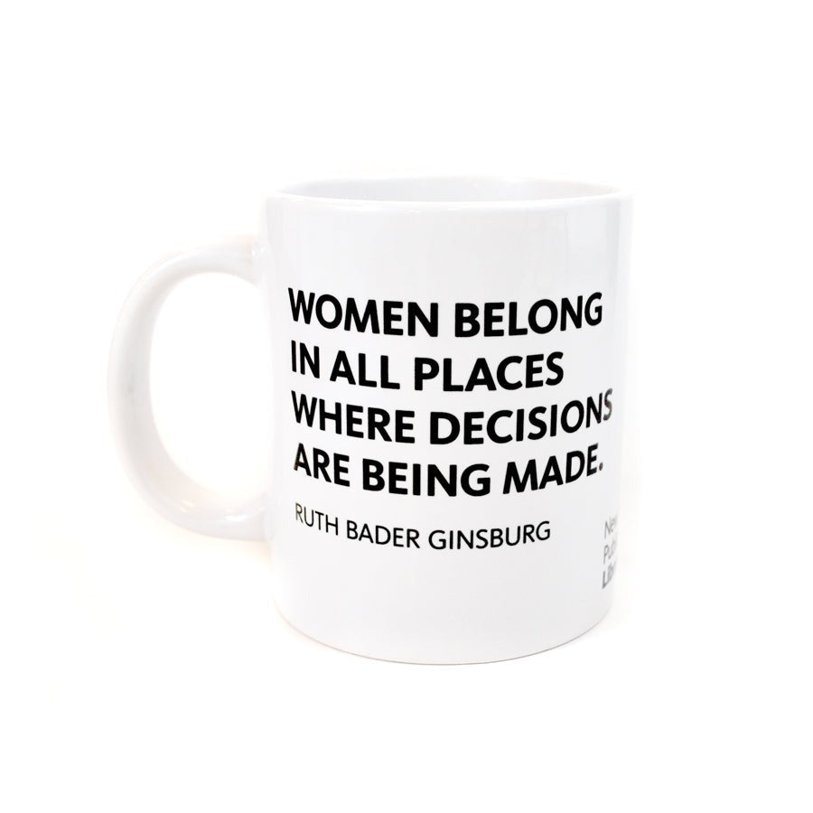 Black text on white mug. Quote on one side.