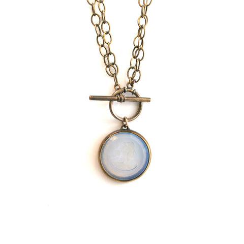 Milk Glass Convertible Toggle Necklace