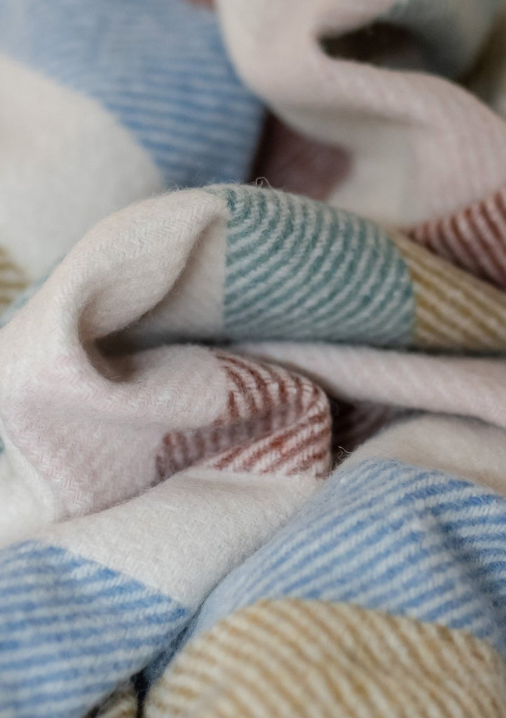 Recycled Wool Waterproof Picnic Blanket: Rainbow Stripe