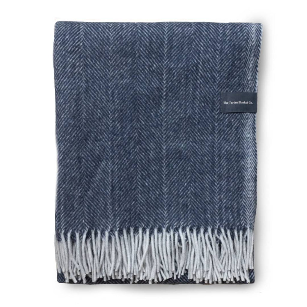 Recycled Wool Blanket in Navy Herringbone