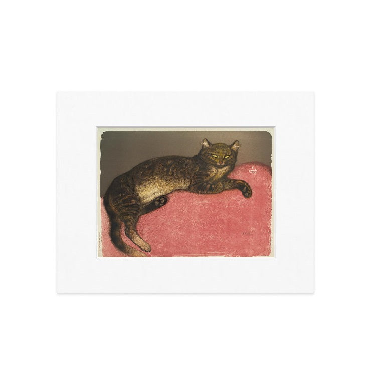 L'Hiver Chat Sur un Coussin Matted Print - The New York Public Library Shop
