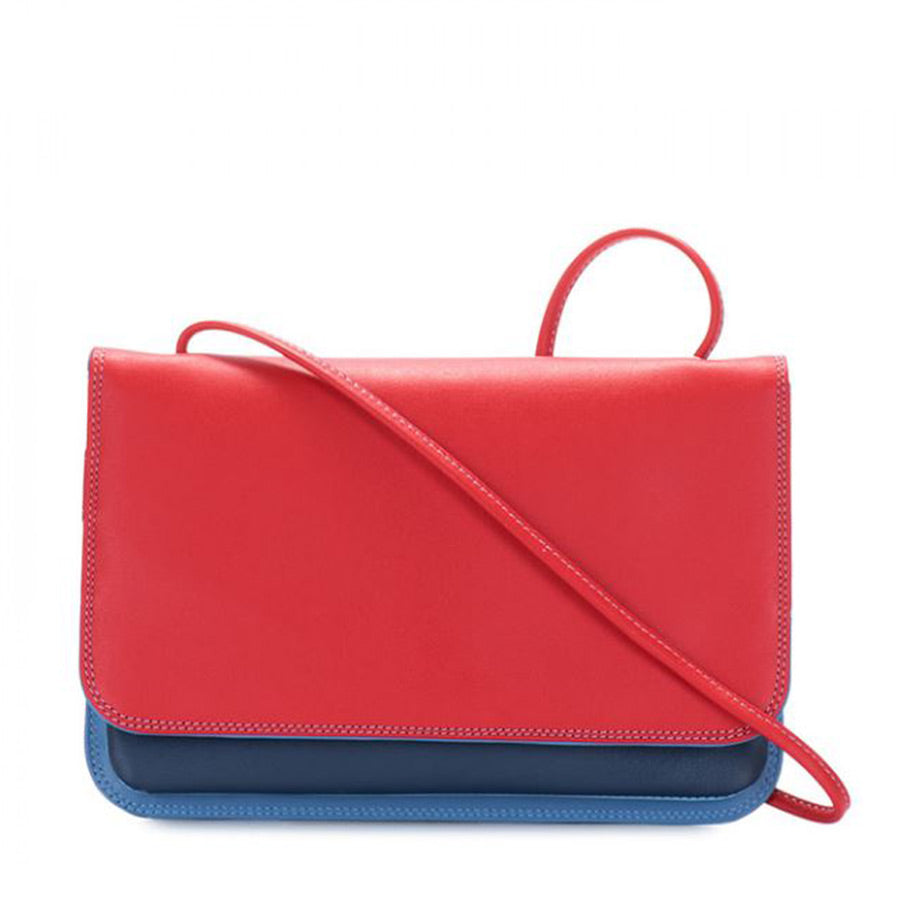 Cross body bag is mainly red on the outside but also has colors royal blue and light blue.