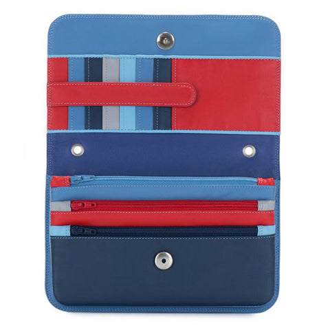 Credit card slots and zip pockets alternate colors (red, light blue, dark blue, gray, sky blue)