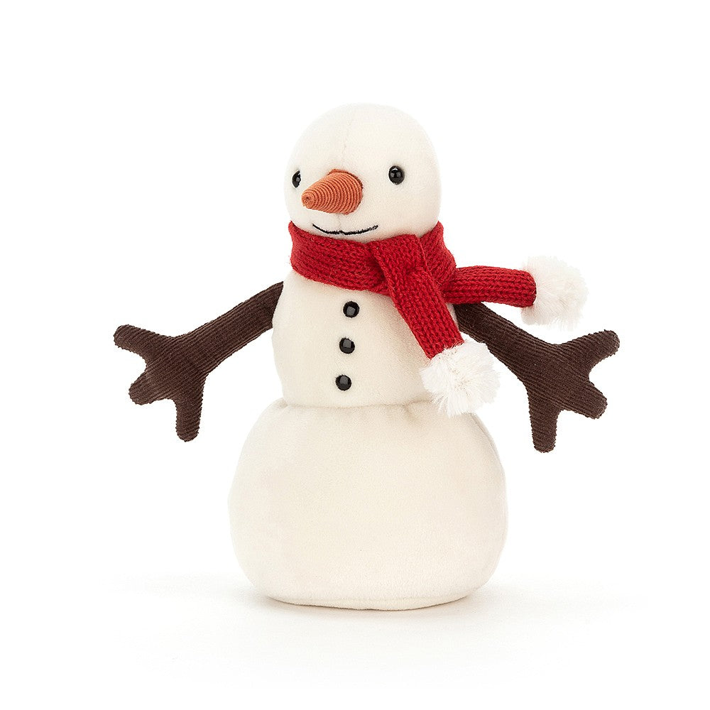 Snowman with brown arms and a red scarf around its neck.