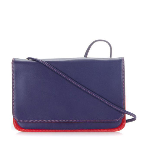 Cross body bag is mainly purple on the outside but also has color red.
